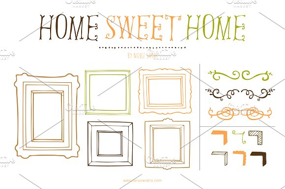 Home sweet home clipart free picture library library Home Sweet Home (Clipart) ~ Illustrations on Creative Market picture library library