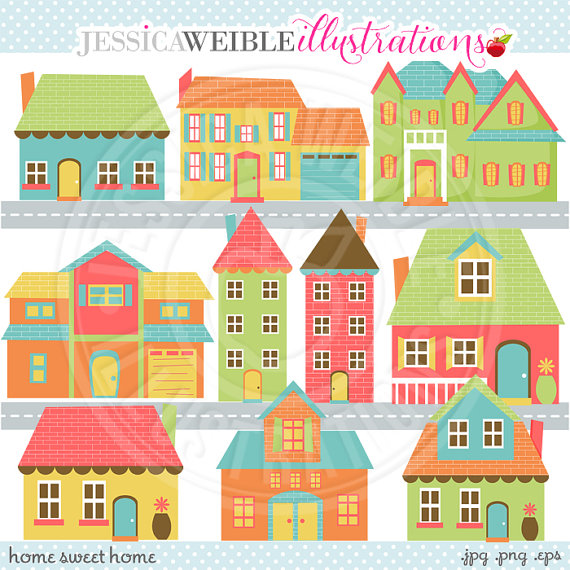Home sweet home clipart house royalty free stock Home Sweet Home Cute Digital Clip Art - Commercial Use OK ... royalty free stock