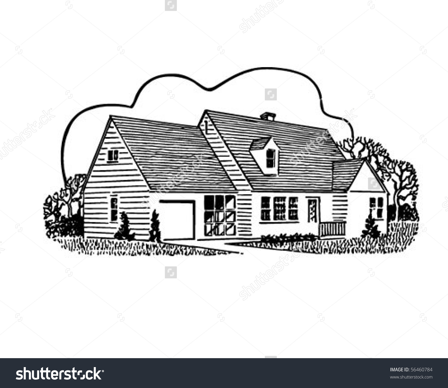 Home sweet home clipart house jpg transparent library Home Sweet Home - Retro Clip Art Stock Vector Illustration ... jpg transparent library