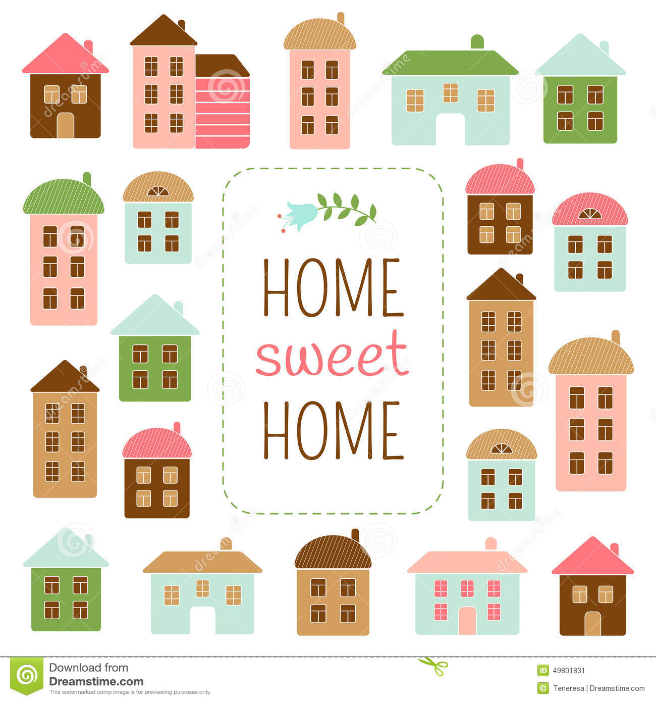Home sweet home clipart house clip royalty free download Home Sweet Home Stock Vector - Image: 49801831 clip royalty free download