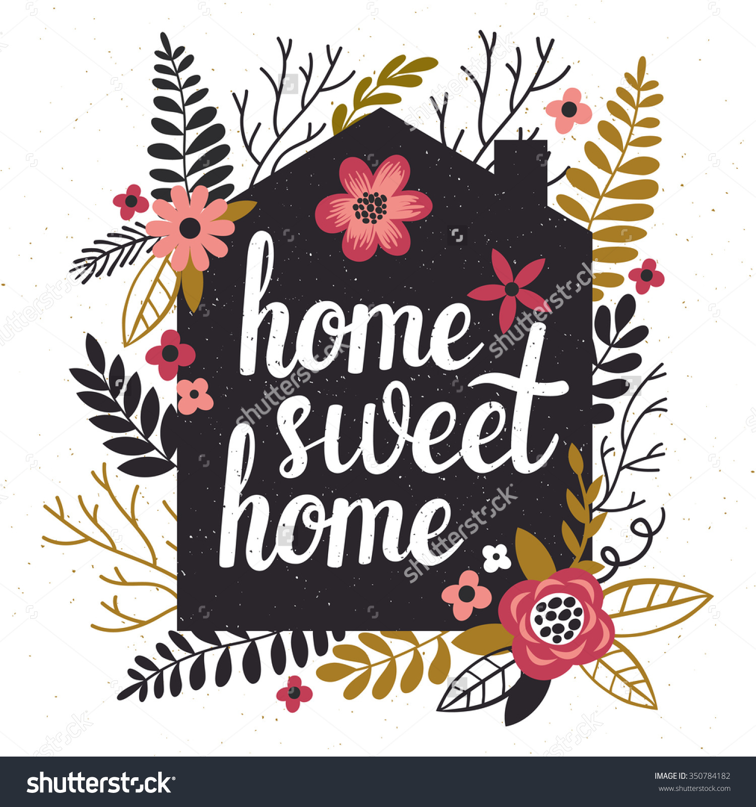 Home sweet home house silhouette clipart svg library download Vector Illustration Black Houses Silhouette Floral Stock Vector ... svg library download