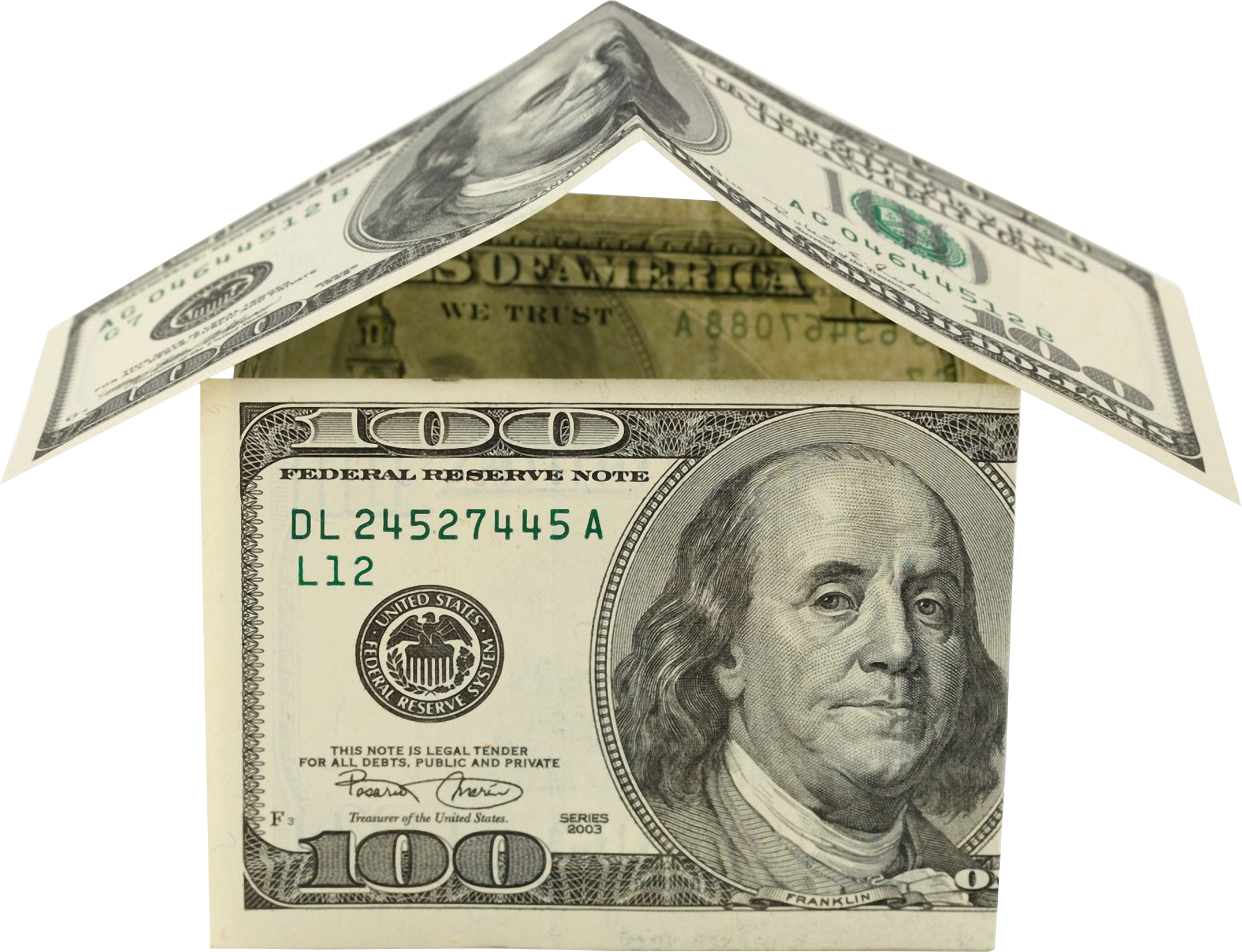 Paper money clipart dollar bills clipart black and white stock House Made of Dollars | Isolated Stock Photo by noBACKS.com clipart black and white stock