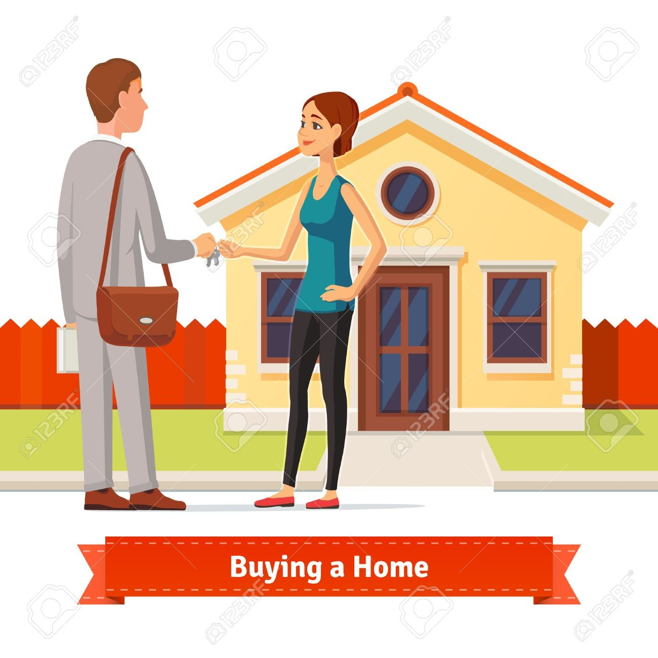 Homebuying clipart clip transparent library With Clipart New House 51018309 Woman Buying A Real Estate Agent ... clip transparent library