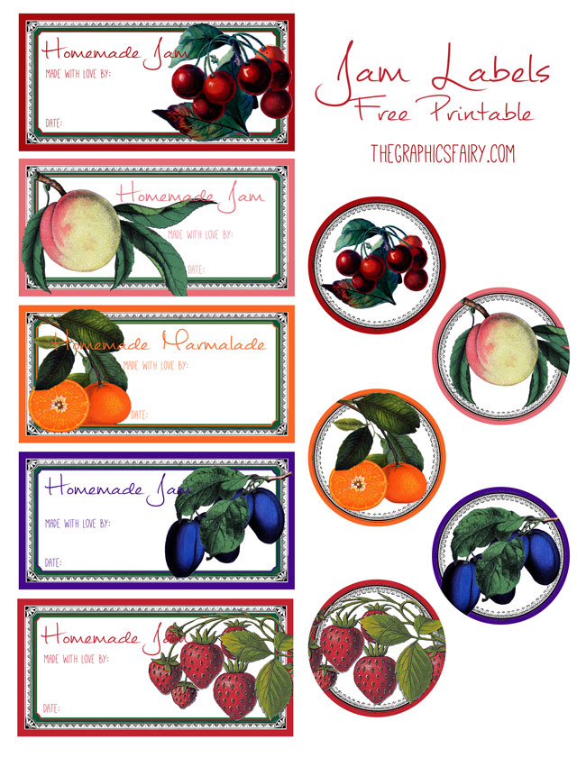 Homemade jam labels clipart vector freeuse stock Free Printable Jam Labels - The Graphics Fairy vector freeuse stock