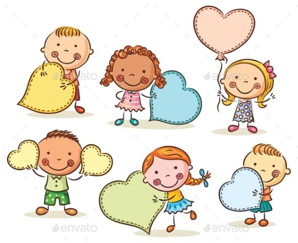 Homemade kids drawing in frame clipart picture freeuse stock Kids With Blank Signs In The Form Of Hearts | obrázkové ... picture freeuse stock