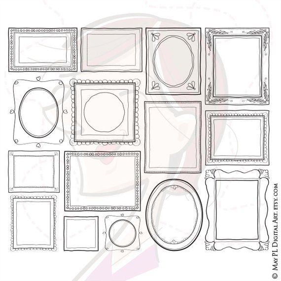 Homemade kids drawing in frame clipart clipart black and white library 15 creative decorative cute doodle picture frame designs ... clipart black and white library