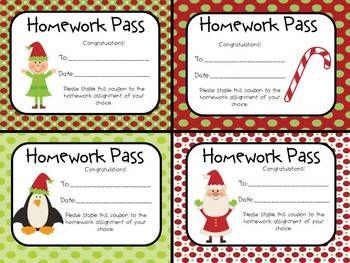 Homework pass clipart clipart transparent library FREE Christmas Homework Passes | Teaching | Homework pass, Holiday ... clipart transparent library