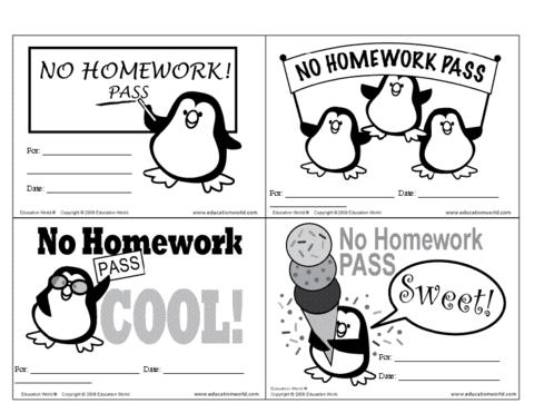 Homework pass clipart clipart royalty free stock No Homework Pass Template | Education World clipart royalty free stock
