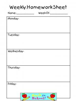 Homework sheet clipart jpg download Weekly Homework Sheet-Complete Set from Teaching the Stars on ... jpg download
