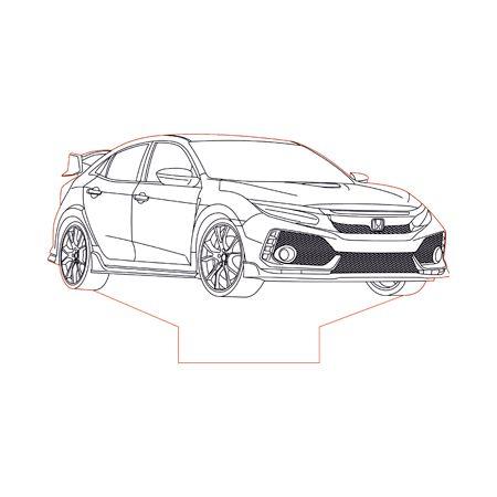 Honda civic type r clipart svg black and white library 2017 Honda Civic type R 3d illusion lamp plan vector file | Cars ... svg black and white library