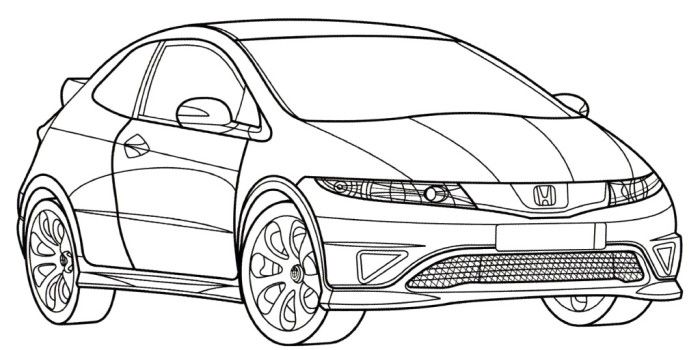 Honda civic type r clipart royalty free library Honda Civic Type R Coloring Page | Teacher Stuff | Honda civic type ... royalty free library
