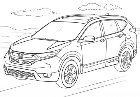 Honda crv clipart banner black and white download Honda CR-V coloring page   Free Printable Coloring Pages banner black and white download
