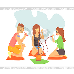 Hookah smoke clipart clip transparent Young Cool Hipsters Smoking Hookah And Vaporizer - vector image clip transparent