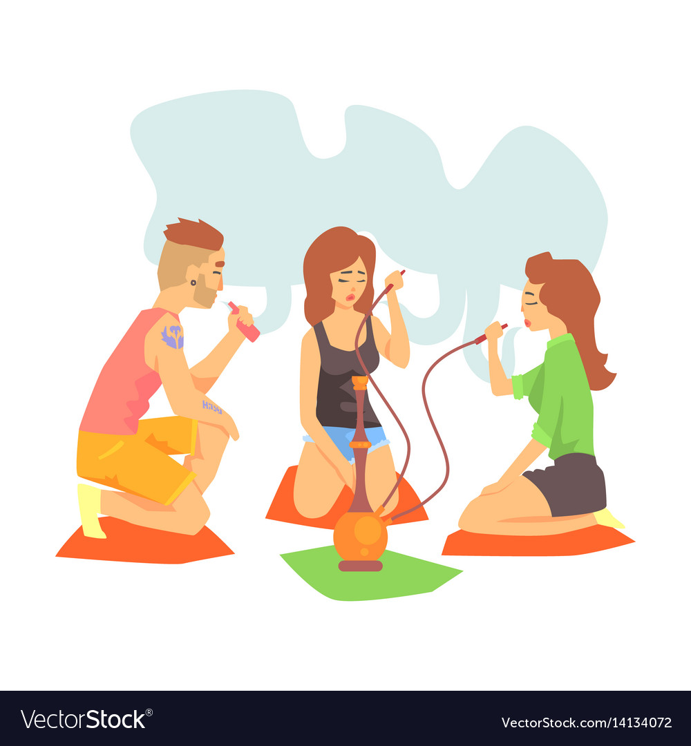 Hookah smoking girl clipart vector free Young cool hipsters smoking hookah and vaporizer vector image vector free