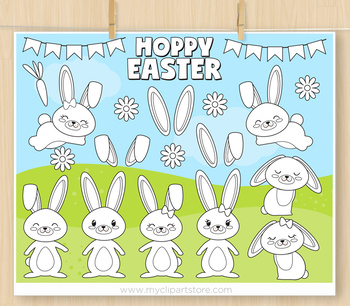 Hoppy bunny clipart vector download Hoppy Easter Clipart, Easter Bunnies - BLACKLINE - color me, with outlines vector download