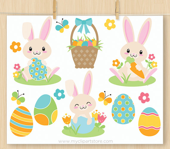 Hoppy bunny clipart banner black and white Easter Bunny Clipart, Boy bunny, Blue, Spring Flowers, Easter eggs ... banner black and white