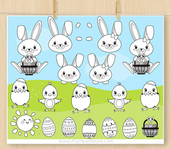 Hoppy bunny clipart picture library download Hoppy Easter Clipart, Easter Bunnies - BLACKLINE - color me, with outlines picture library download