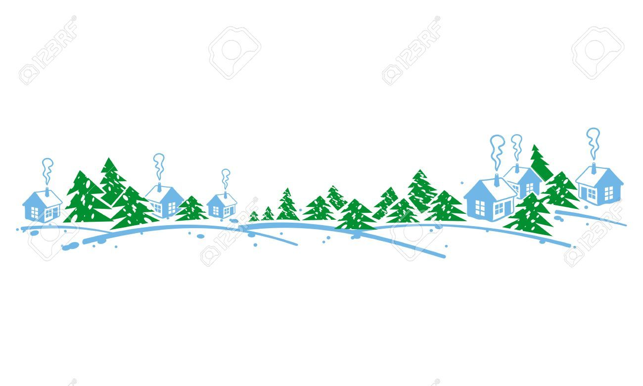 Winter banner clipart svg freeuse stock Horizontal banner with winter village. Forest, snowflakes. » Clipart ... svg freeuse stock