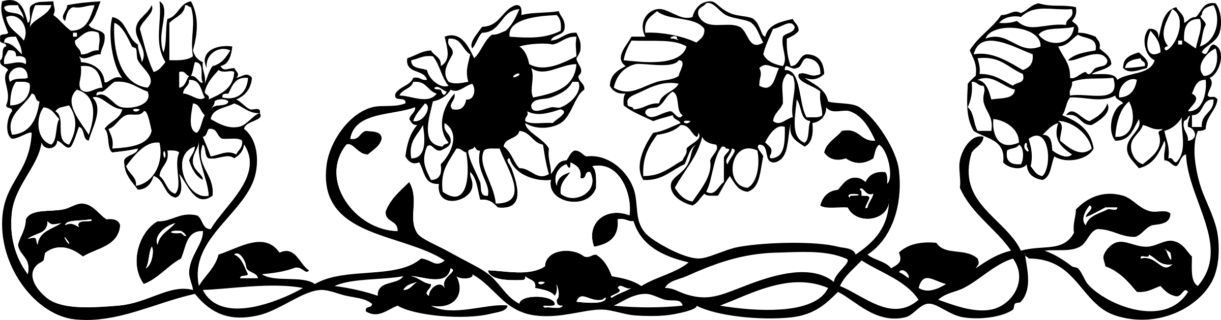 Horizontal flower border clipart black and white clip art freeuse library 28+ Collection of Black And White Sunflower Border Clipart   High ... clip art freeuse library