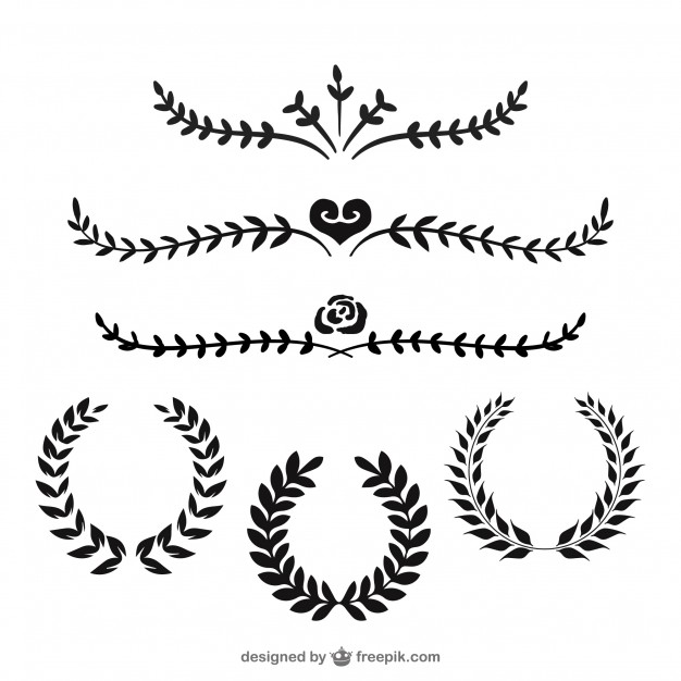 Horizontal laurel twig clipart black and white clip library stock Laurel Vectors, Photos and PSD files   Free Download clip library stock