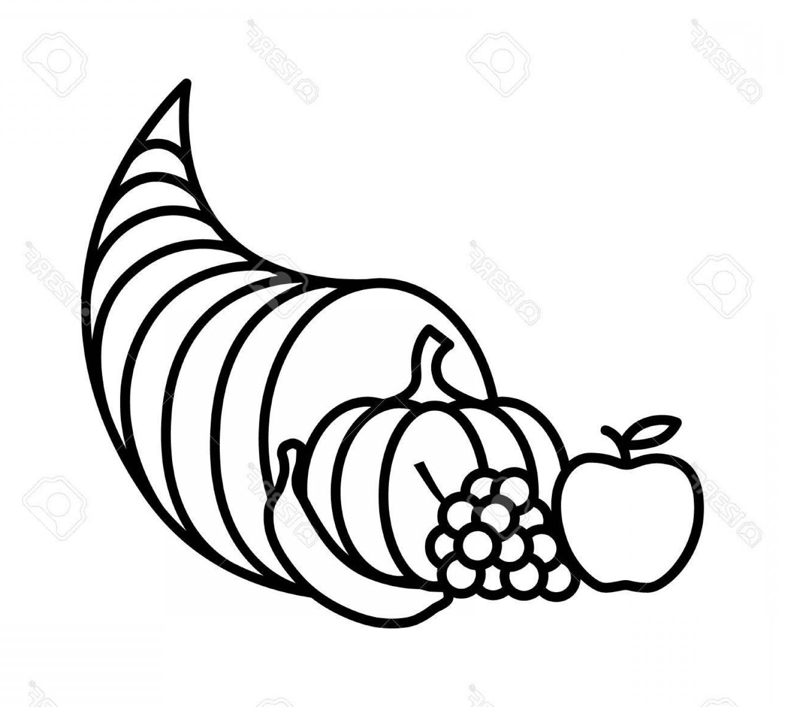 Horn of plenty clipart black and white banner freeuse stock Photostock Vector Cornucopia Horn Of Plenty Or Thanksgiving ... banner freeuse stock