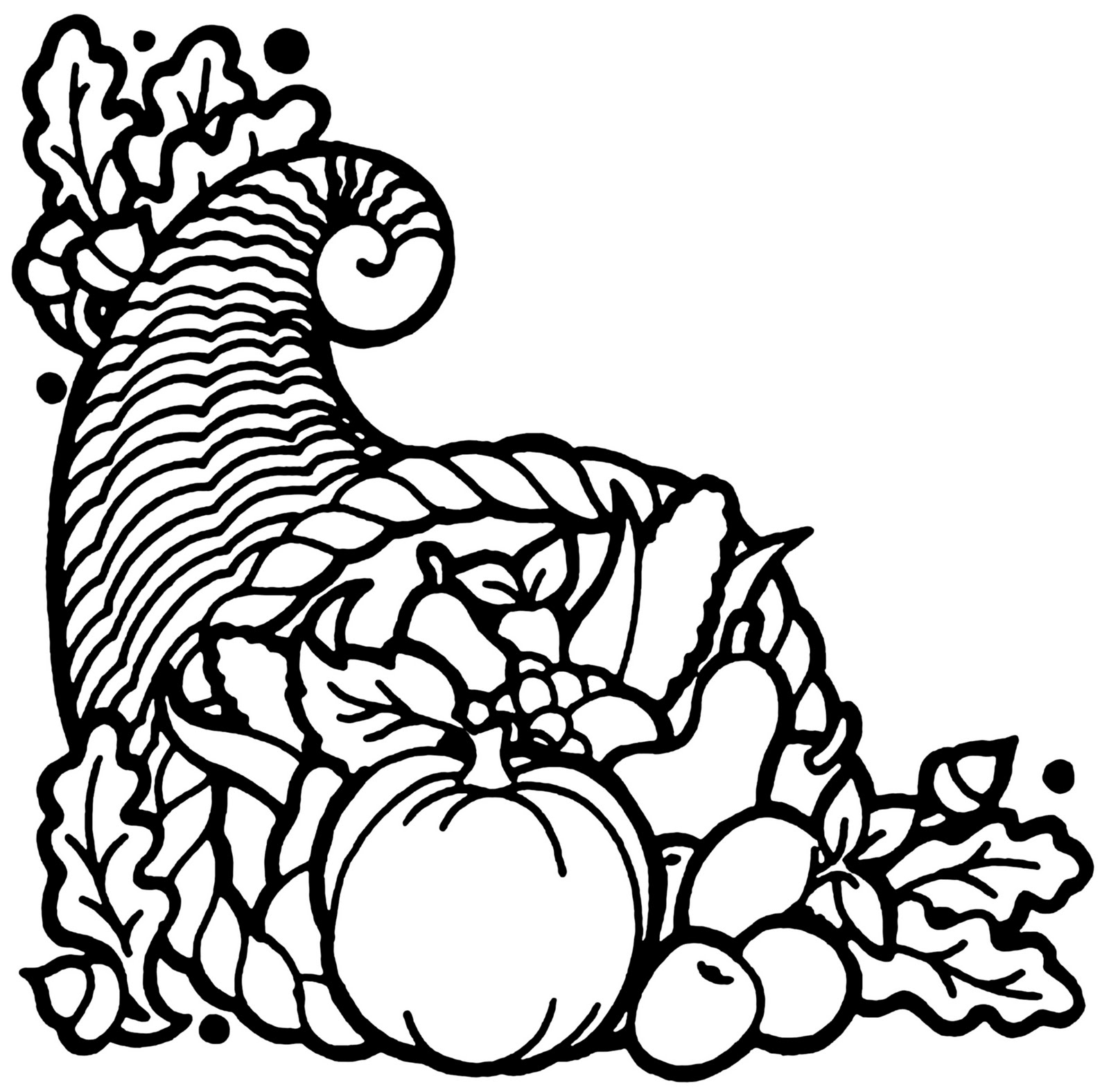 Horn of plenty clipart black and white png freeuse Cornucopia Clipart | Free download best Cornucopia Clipart ... png freeuse