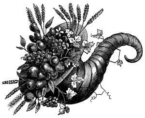 Horn of plenty clipart black and white picture royalty free vintage clip art, cornucopia of flowers, cornucopia ... picture royalty free