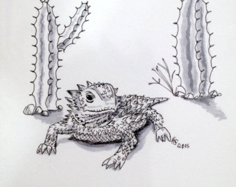 Horned lizard clipart vector black and white stock Original Horned Lizard Horny Toad Ink Drawing by ... vector black and white stock