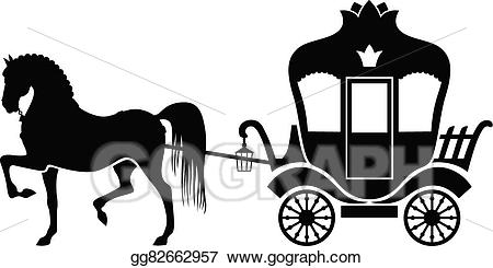 Horse and carriage clipart image free Vector Art - Silhouette carriage and horse. Clipart Drawing ... image free