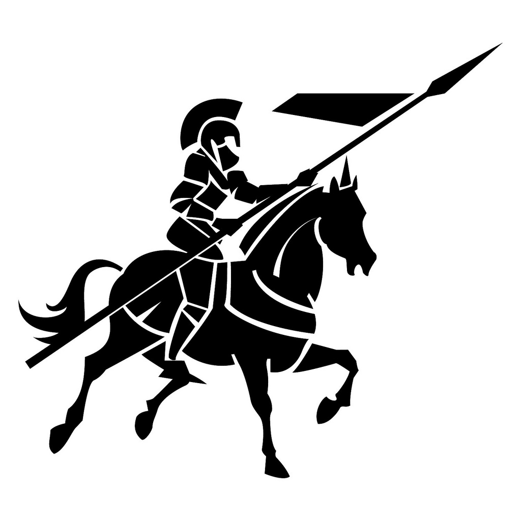 Horse and medieval rider black and white clipart clipart royalty free Knight On Horse Clipart | Free download best Knight On Horse ... clipart royalty free