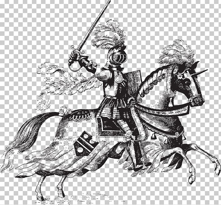 Horse and medieval rider black and white clipart graphic transparent download Horse Middle Ages Knight Jousting PNG, Clipart, Animals ... graphic transparent download