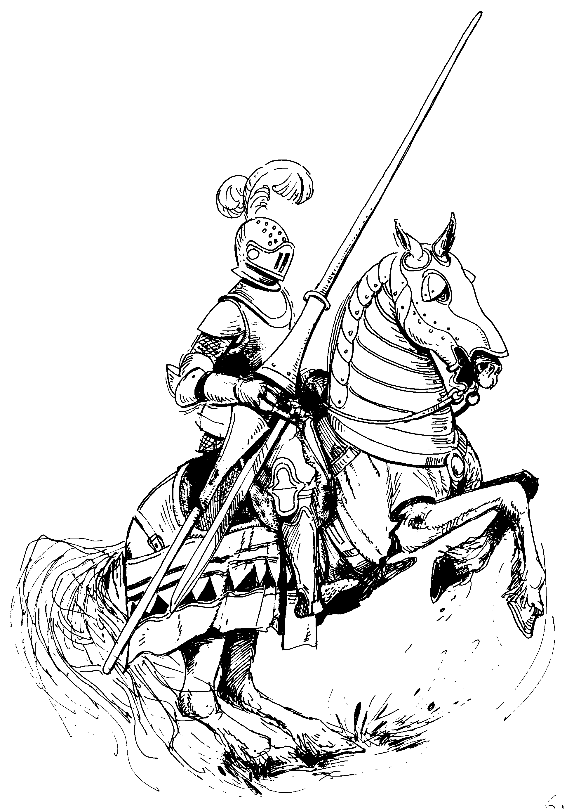 Horse and medieval rider black and white clipart jpg Knight On Horse Drawing at PaintingValley.com | Explore ... jpg