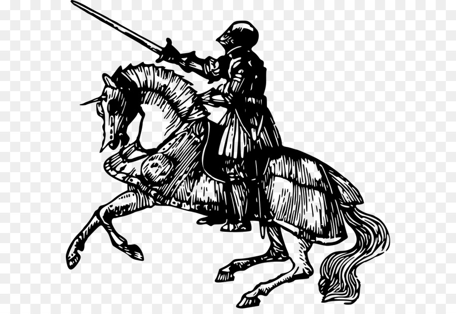 Horse and medieval rider black and white clipart vector transparent library Knight Cartoon png download - 640*609 - Free Transparent ... vector transparent library