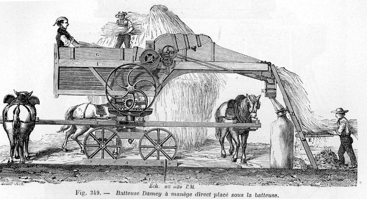 Horse cart clipart farmer bushel line drawing clipart black and white Threshing - Wikipedia clipart black and white