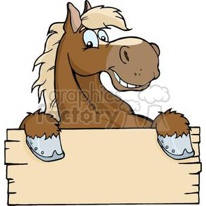 Horse cartoon clipart banner transparent stock 3363-Happy-Cartoon-Horse-With-A-Blank-Sign clipart. Royalty-free clipart #  380824 banner transparent stock