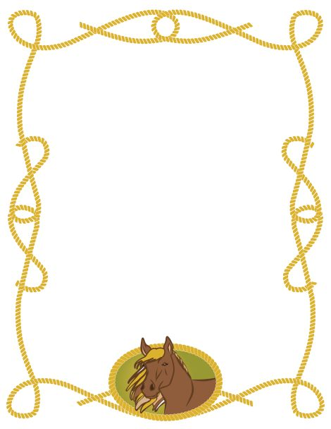 Horse clip art borders picture freeuse library Horse page border featuring a horse on the bottom with a rope ... picture freeuse library