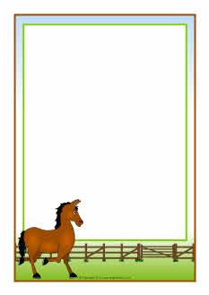 Horse clip art borders royalty free Horse-themed A4 page borders (SB7326) - SparkleBox   Boerderij ... royalty free