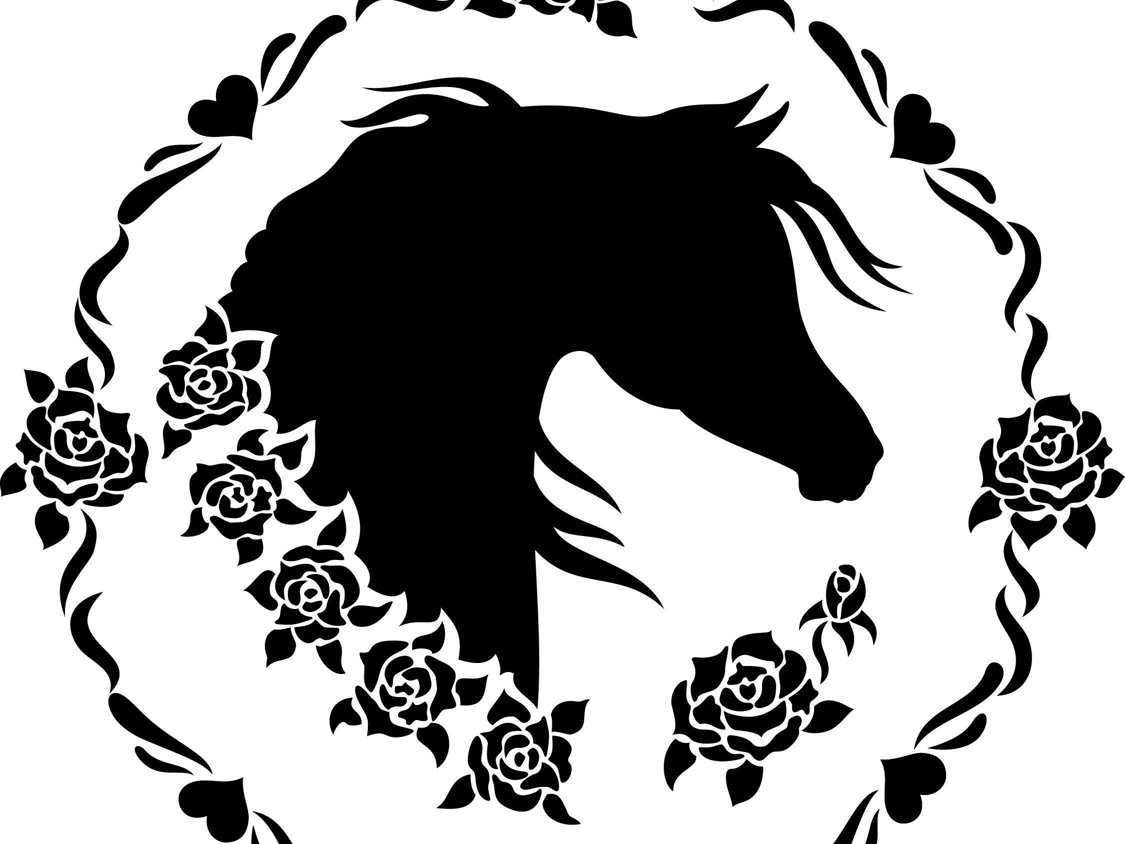 Horse clipart black and white top down svg royalty free stock Arabian Horse Head Clipart Sweet Roses | Arabian Horses in ... svg royalty free stock