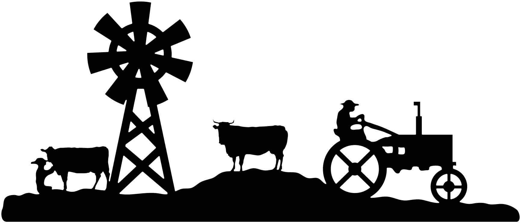 Horse cow tractor sheep clipart black and white svg freeuse stock Farm scene Cow, windmill and tractor DXF File | Quilt ... svg freeuse stock