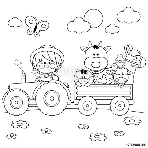Horse cow tractor sheep clipart black and white banner freeuse Farmer boy driving a tractor and carrying farm animals ... banner freeuse