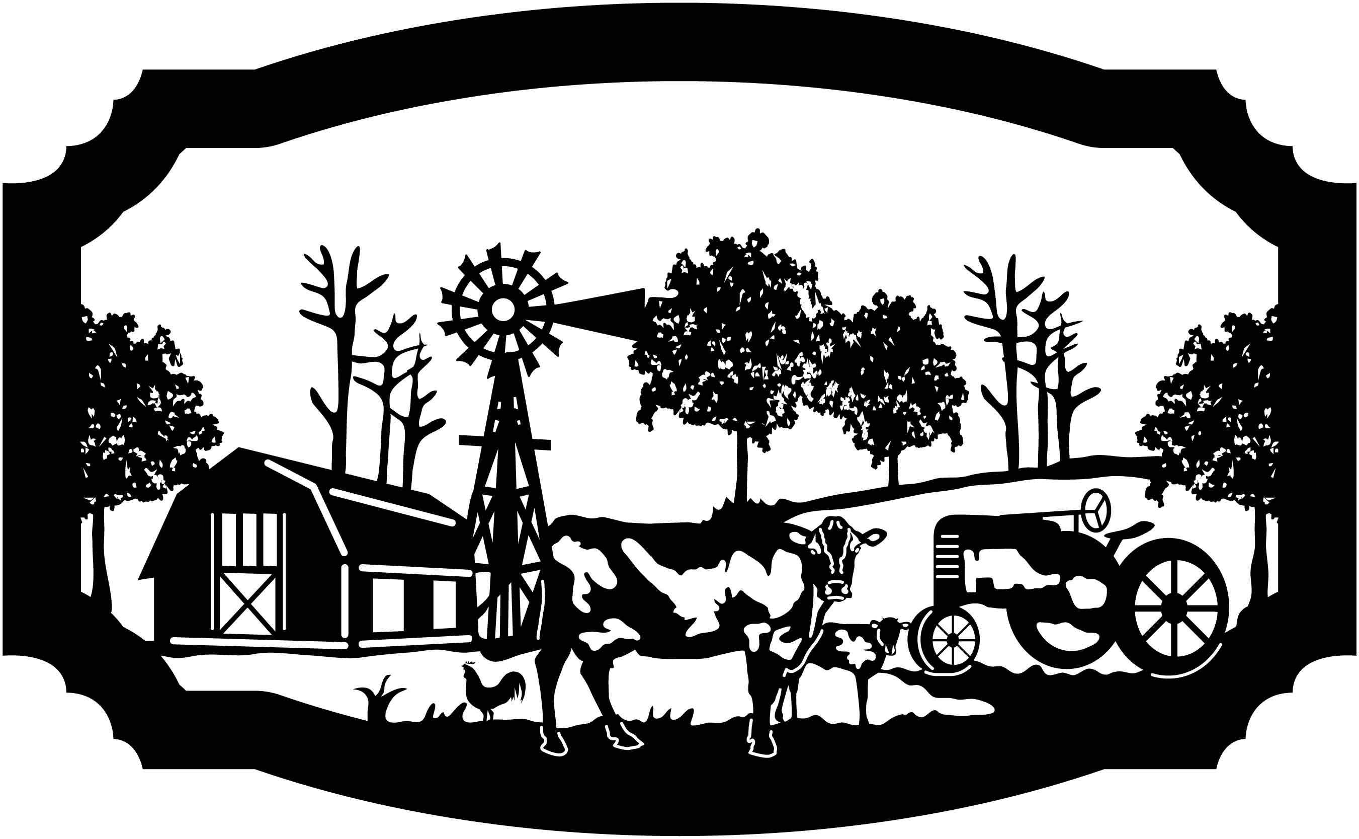 Horse cow tractor sheep clipart black and white picture royalty free library Sign Farm scene of Barn, cow, calf, rooster, windmill and ... picture royalty free library