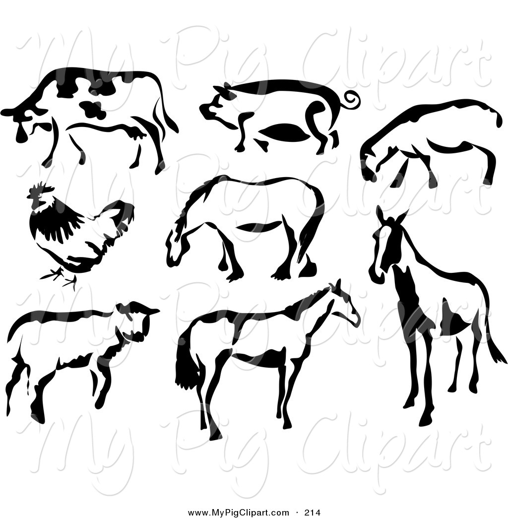 Horse cow tractor sheep clipart black and white png library Swine Clipart of a Black and White Cow, Pig, Sheep, Chicken ... png library