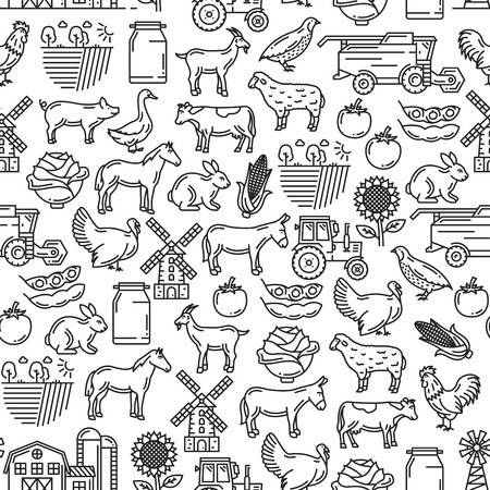 Horse cow tractor sheep clipart black and white clip library download Agriculture and cattle farm seamless pattern. Vector thin ... clip library download