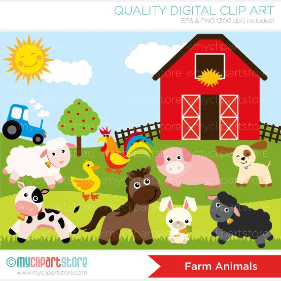 Horse cow tractor sheep clipart black and white clip transparent library Farm Animals, Red barn, tractor, sheep, pig, rooster, puppy ... clip transparent library