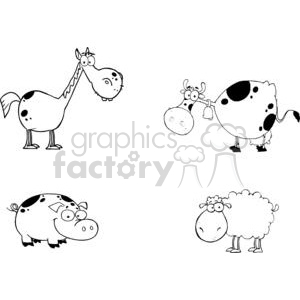 Horse cow tractor sheep clipart black and white picture royalty free library Farm Animals Cartoon Characters Set clipart. Royalty-free clipart # 379462 picture royalty free library