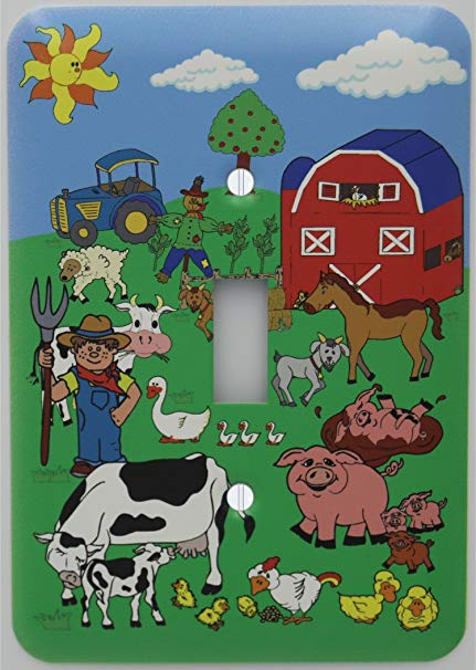 Horse cow tractor sheep clipart black and white picture library Presto Wall Decals Barnyard Animal Farm Light Switch Plate Cover with Barn  Animals including Cows, Horse, Goat, Pigs, Ducks, Chickens, Sheep, Tractor,  ... picture library