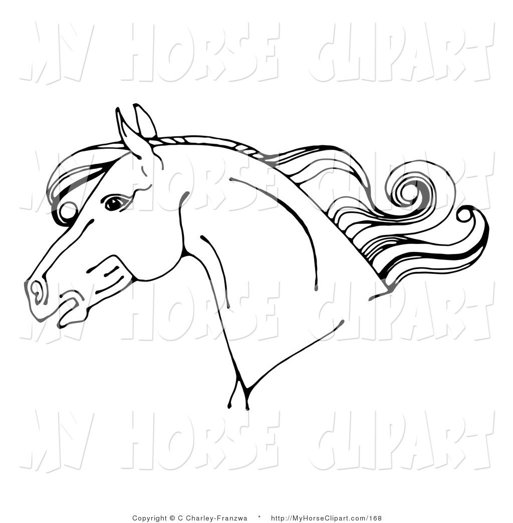 Horse head profile clipart graphic free stock Clip Art of a Black and White Horse Head in Profile Facing ... graphic free stock