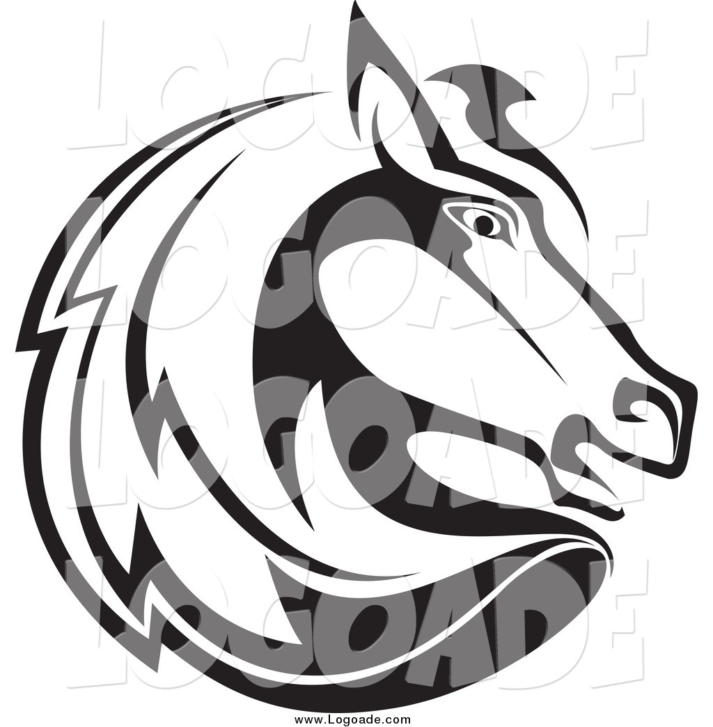 Horse head profile clipart clip art freeuse stock Clipart of a Black and White Horse Head Profile Logo by ... clip art freeuse stock