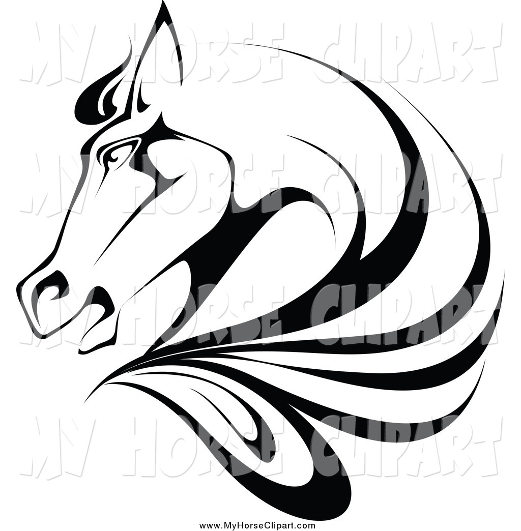 Horse head profile clipart svg library library Clip Art of a Black and White Horse Head in Profile by ... svg library library