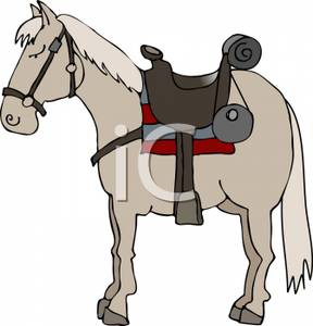 Horse saddle clipart vector free download A Horse Standing with a Bridle and Saddle - Royalty Free ... vector free download